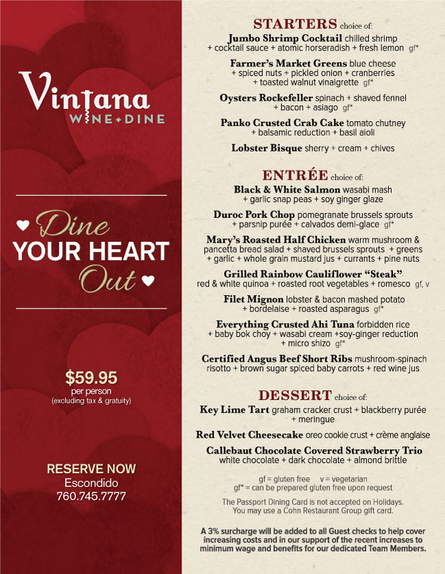 vintana's valentine's day menu - cohn restaurant group, Ideas