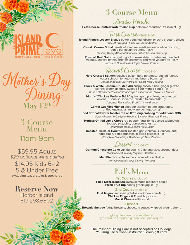 Island Prime C Level S Mother S Day Menu Cohn Restaurant Group