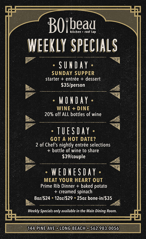 Bo Beau Kitchen Roof Tap S Weekly Specials Cohn