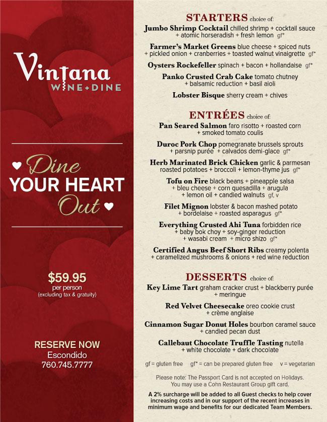 Vintana S Valentine S Day Menu Cohn Restaurant Group