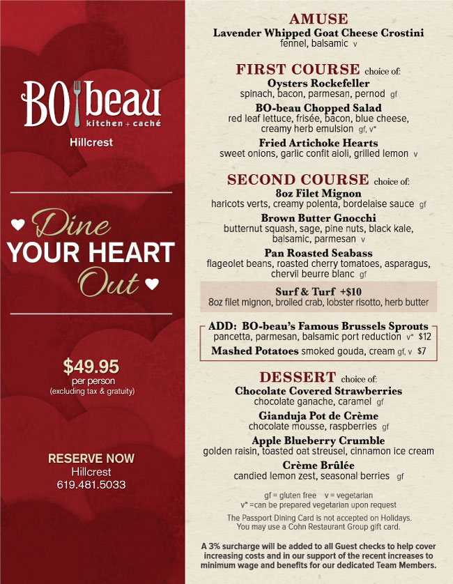 Bo Beau Kitchen Cache S Valentine Day Menu