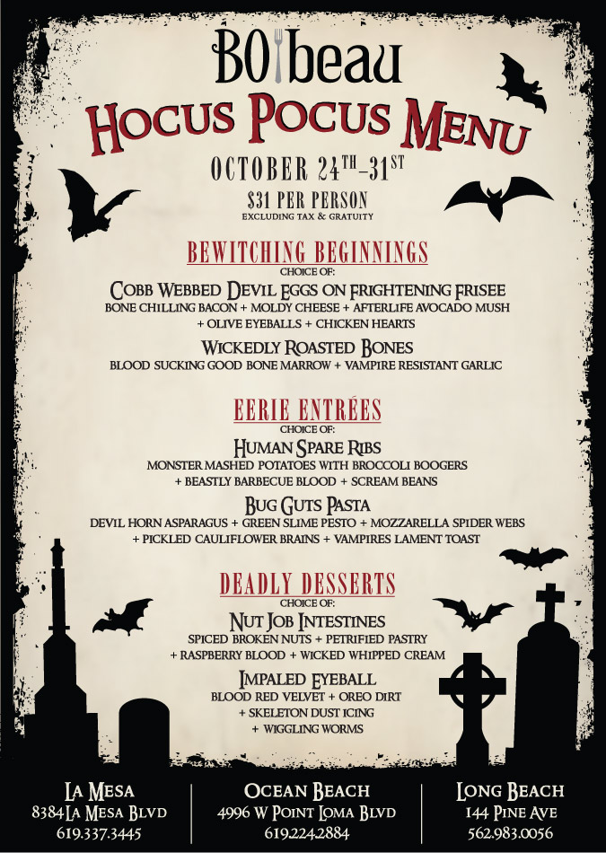 Sip On Our 6 Feet Under Sangria And Other Creepy S That Will Surely Put A Spell On You Our Hocus Pocus Menu Is Priced At 31 Per Person