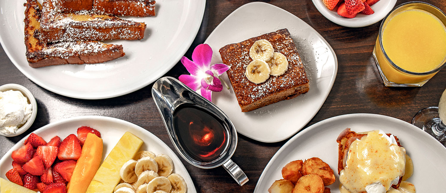fresh fruit, french toast, banana bread, eggs benedict