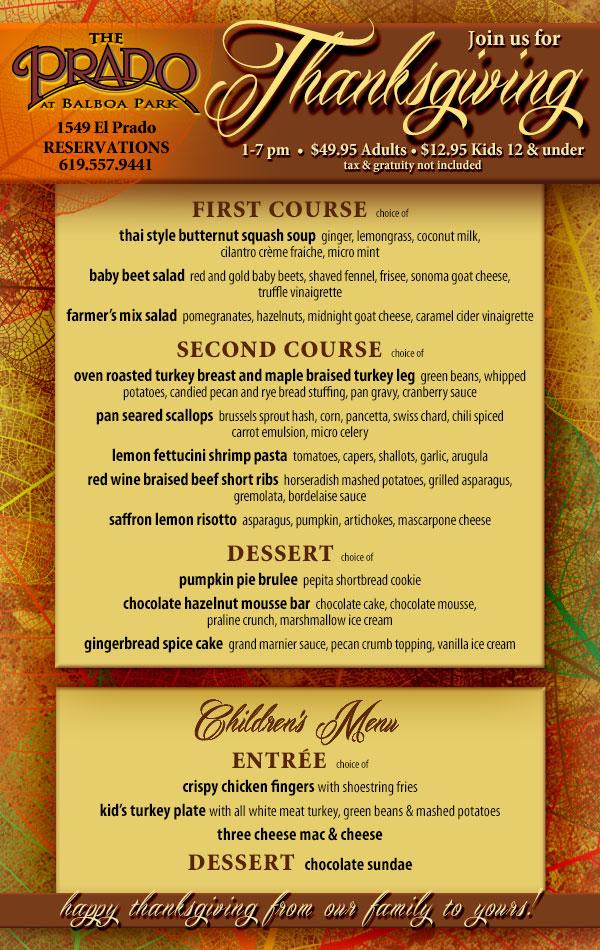 Thanksgiving menu at Prado