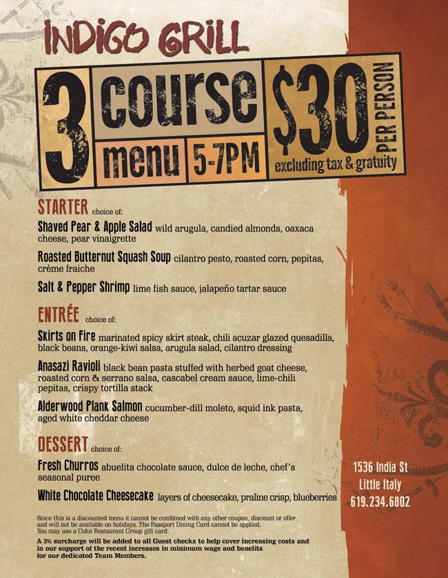 Indigo Grill S 3 Course Menu For 30 Cohn Restaurant Group