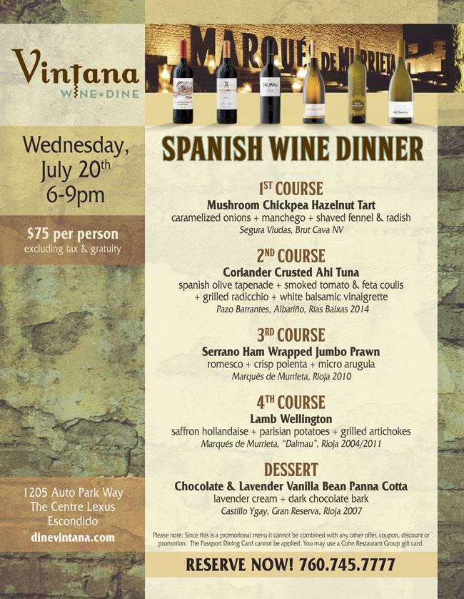 Spanish Wine Dinner At Vintana Cohn Restaurant Group