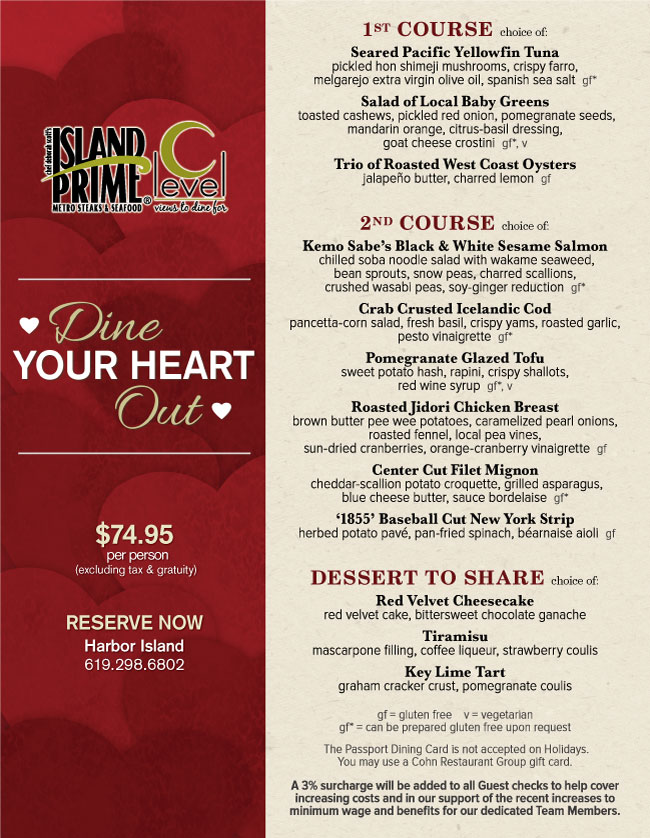 Island Prime S Valentine S Day Menu Cohn Restaurant Group