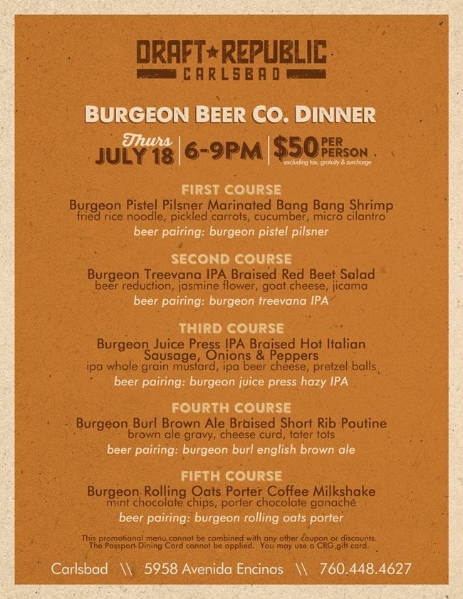 Burgeon Beer Dinner at Draft Republic Carlsbad - Cohn