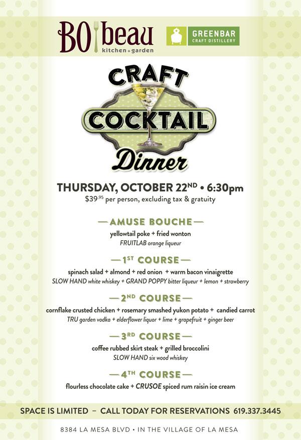 Craft Cocktail Dinner At Bo Beau In La Mesa Cohn