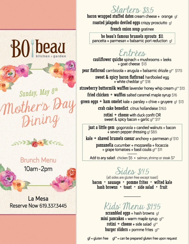 Celebrate Mother 39 S Day At Bo Beau La Mesa Cohn