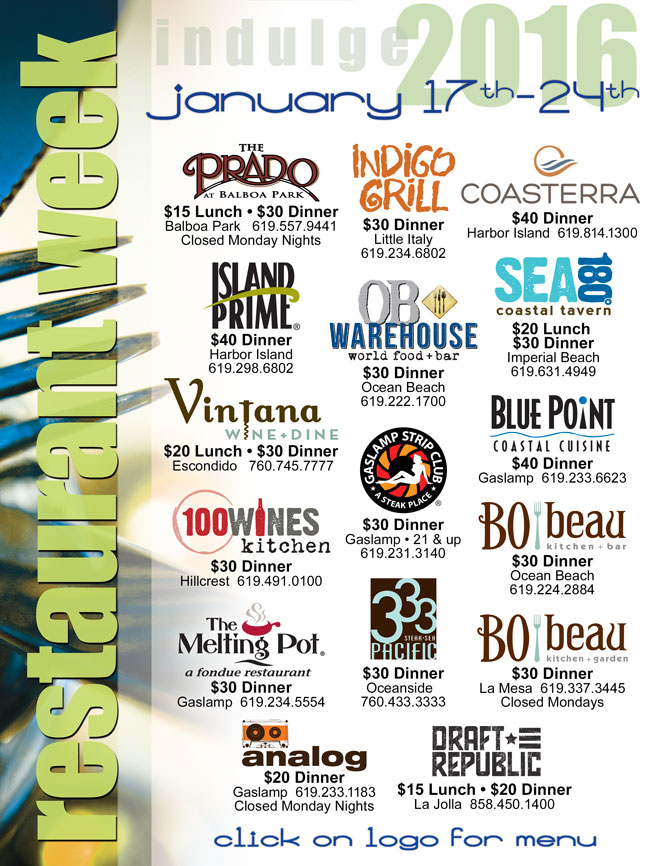 San Diego Restaurant Week January 17th 24th Cohn