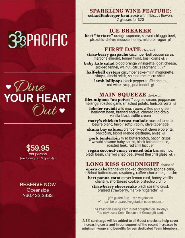 333 pacific's valentine's day menu - cohn restaurant group, Ideas