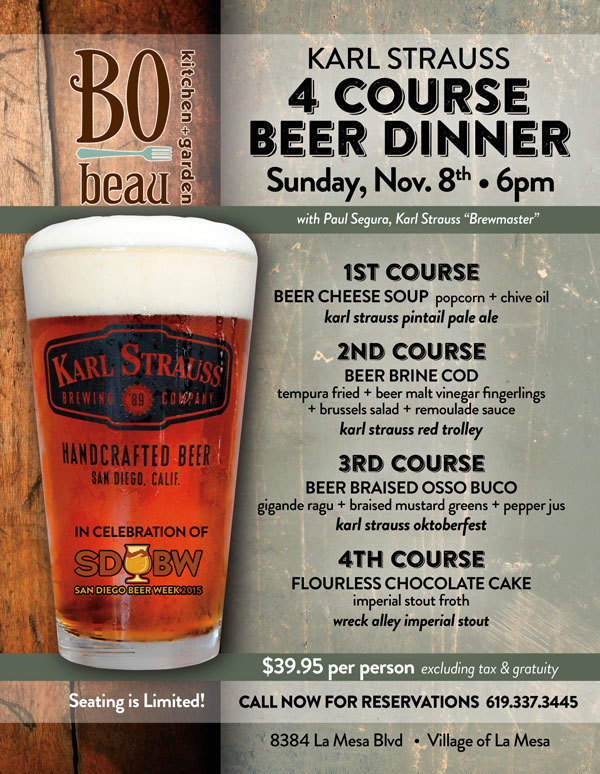 Karl Strauss Beer Dinner At Bo Beau La Mesa Cohn