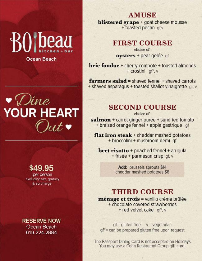 Bo Beau Kitchen Bar S Valentine S Day Menu Cohn