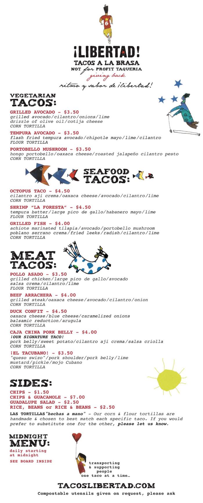 Libertad Tacos de la Brasa - Check Out Our Menu! - Cohn Restaurant Group