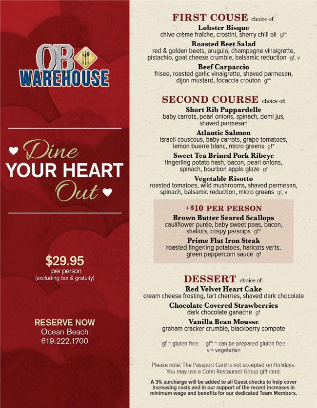 Ob Warehouse S Valentine S Day Menu Cohn Restaurant Group