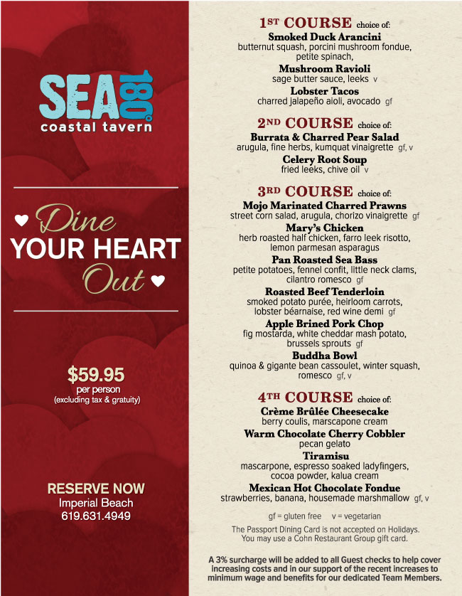 Valentine S Day Menu At Sea180 Cohn Restaurant Group