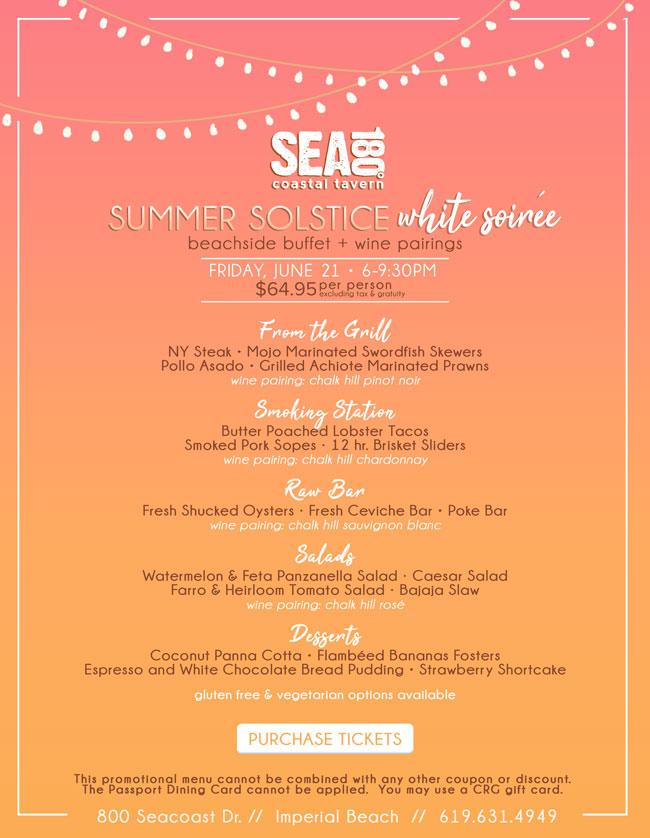 SEA180° Summer Solstice White Soirée - Cohn Restaurant Group