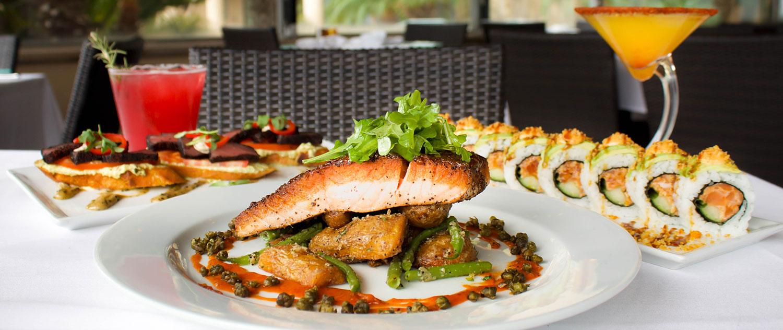 Salmon, Ahi Bruschetta, Sushi Roll