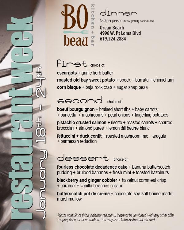 Bo Beau Ocean Beach Restaurant Week Menu