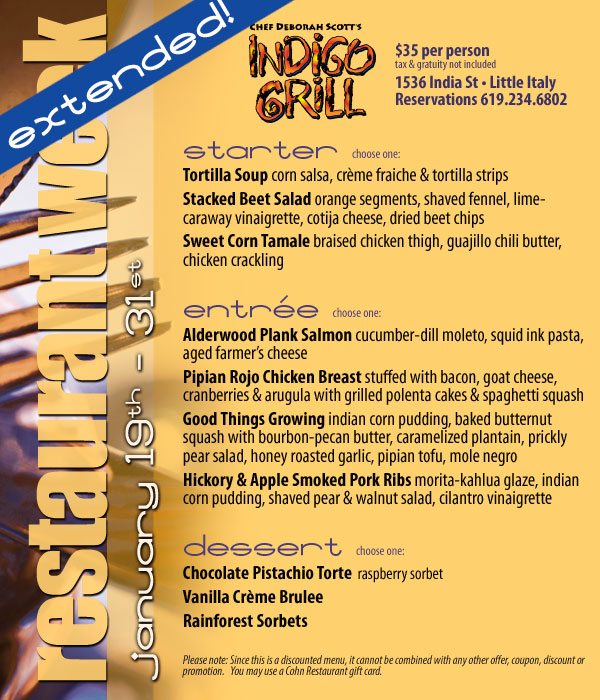 Indigo Grill S San Diego Restaurant Week Extended Through