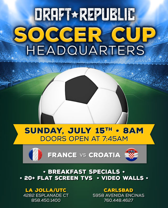 Weu0027ll be opening our doors early at 745am at our La Jolla/UTC and Carlsbad locations. Enjoy delicious breakfast specials and catch every goal on one of our ...  sc 1 st  Cohn Restaurant Group & Watch the Soccer Finals at Draft Republic- DOORS OPEN EARLY! - Cohn ...