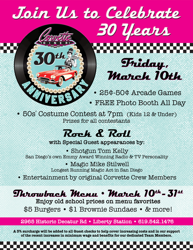 1 Sundaes And Other Menu Favorites At Old School Prices For More Information About Our 30th Anniversary Celebration Please Call 619 542 1476