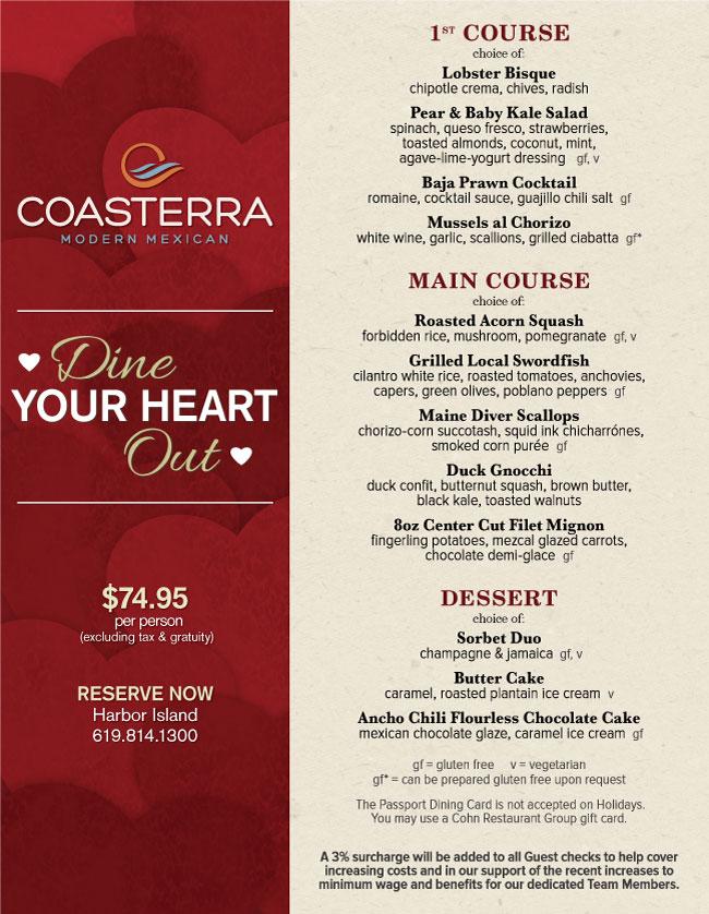 Coasterra S Valentine S Day Menu Cohn Restaurant Group