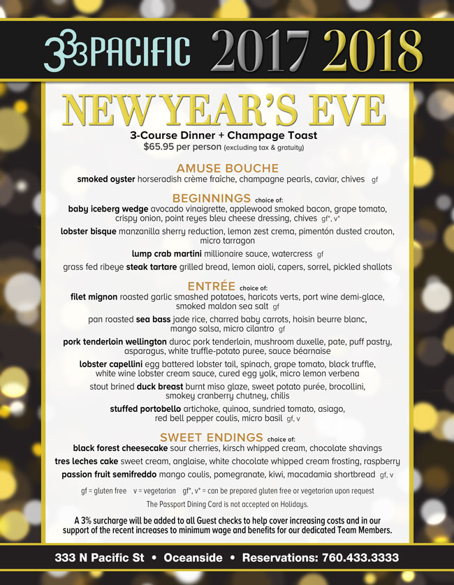 333 Pacific\'s New Year\'s Eve - Cohn Restaurant Group