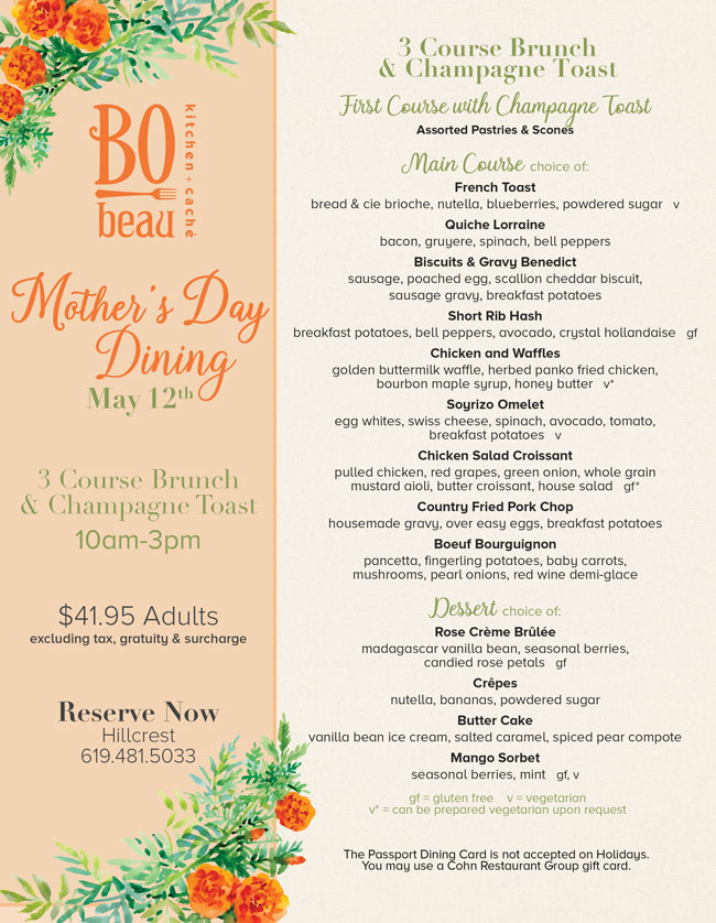 Celebrate Mother S Day At Bo Beau Hillcrest Cohn