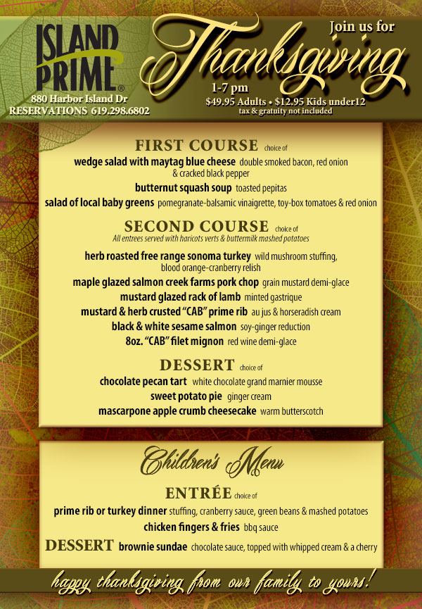Cohn Restaurants Thanksgiving