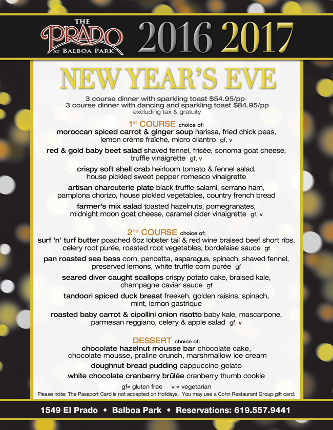 The Prado S New Year S Eve Cohn Restaurant Group