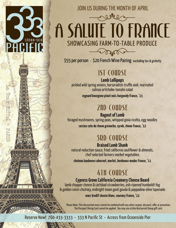 333'S Salute To France Menu - Cohn Restaurant Group