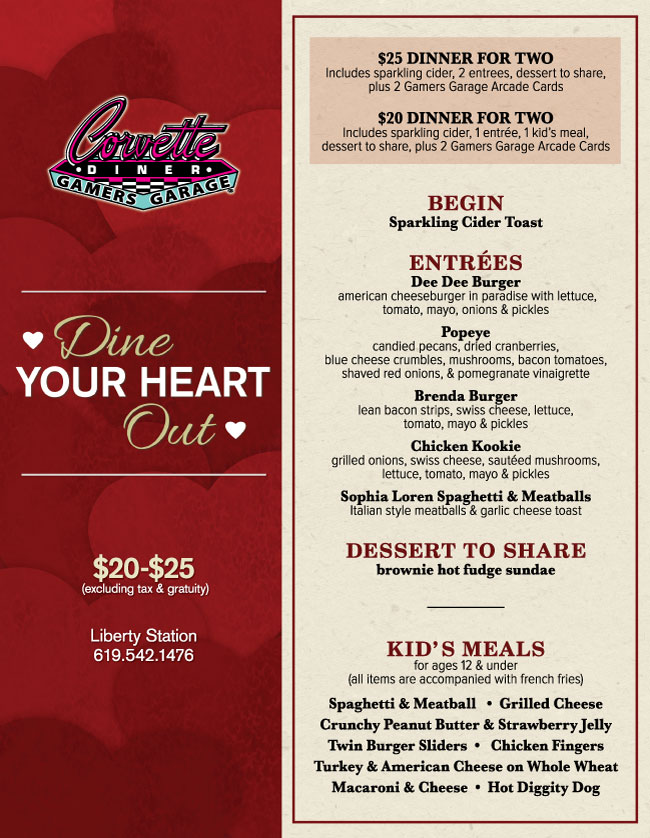 Corvette Diner S Valentine S Day Menu Cohn Restaurant Group