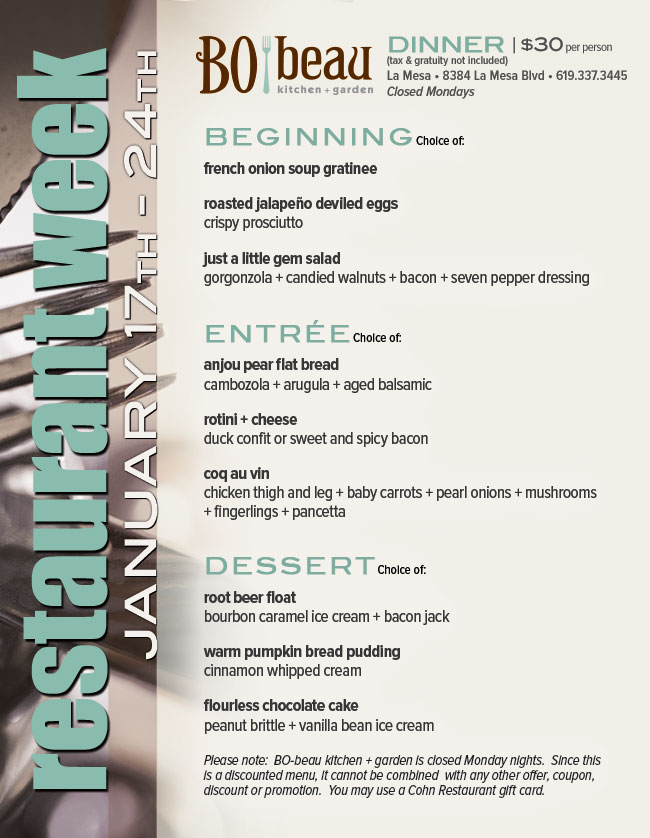 Bo Beau Kitchen Garden Restaurant Week Menu Cohn
