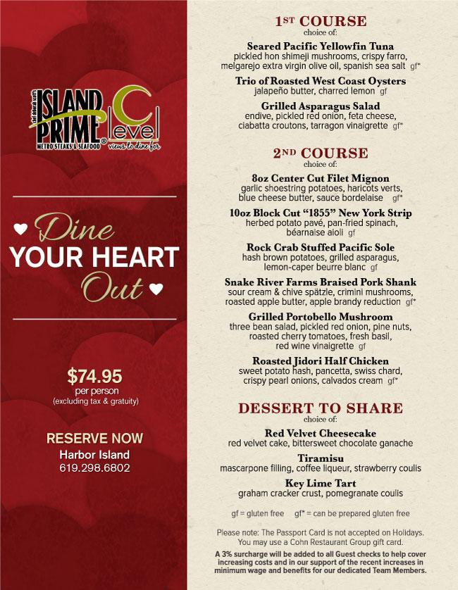 Island Primes Valentines Day Menu Cohn Restaurant Group