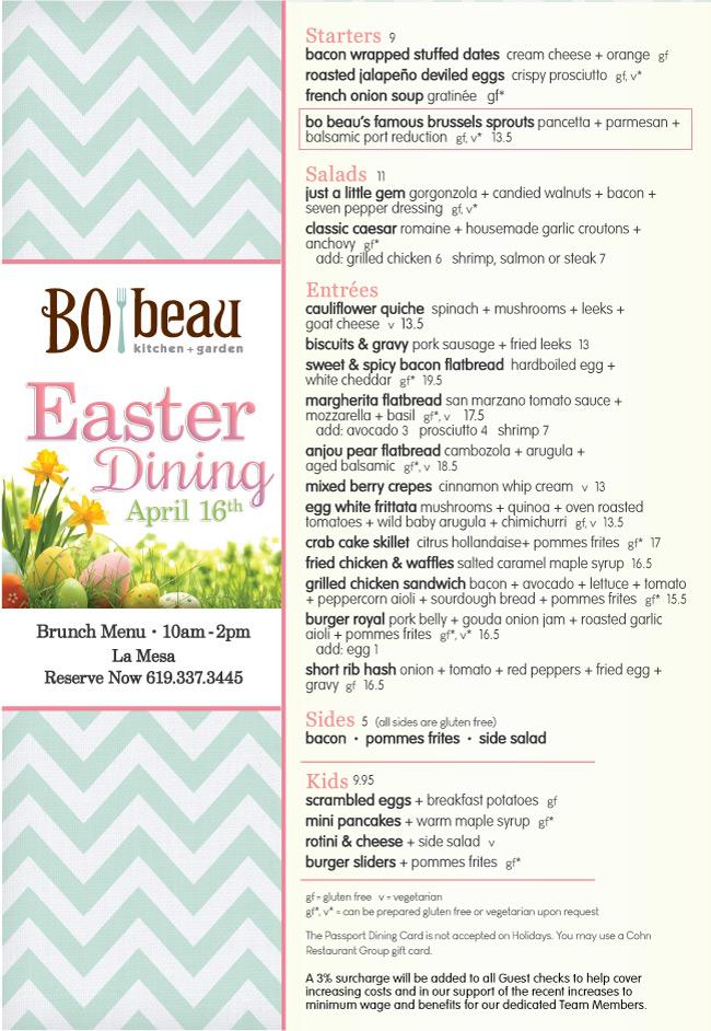 Easter At Bo Beau Kitchen Garden Cohn Restaurant Group