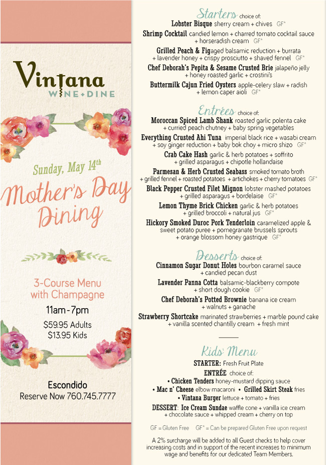 Island Prime Mother S Day Menu