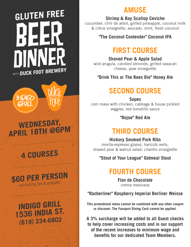 Of Duck Foots Best Gluten Free Brews The Menu Is Priced At 60 Per Person Excluding Tax And Gratuity To Reserve Your Seat Please