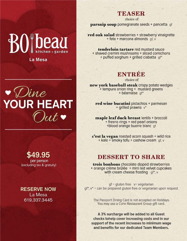 Bo Beau Kitchen Garden S Valentine S Day Menu Cohn